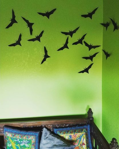 Papercrafted Bats Halloween Decoration